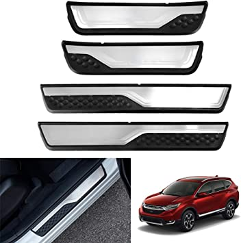 YAVEIL Car Door Sill Scuff Guard Threshold Cover Pedal,for Honda CRV 2017-2020,Stainless Kick Plates Non slip Anti scratch Accessories,4Pcs.