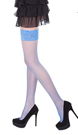 270b5c2f22dd75 Sexy Fishnet Hold Up Stockings With Lace Top - 15 Various Colours,Sizes S,