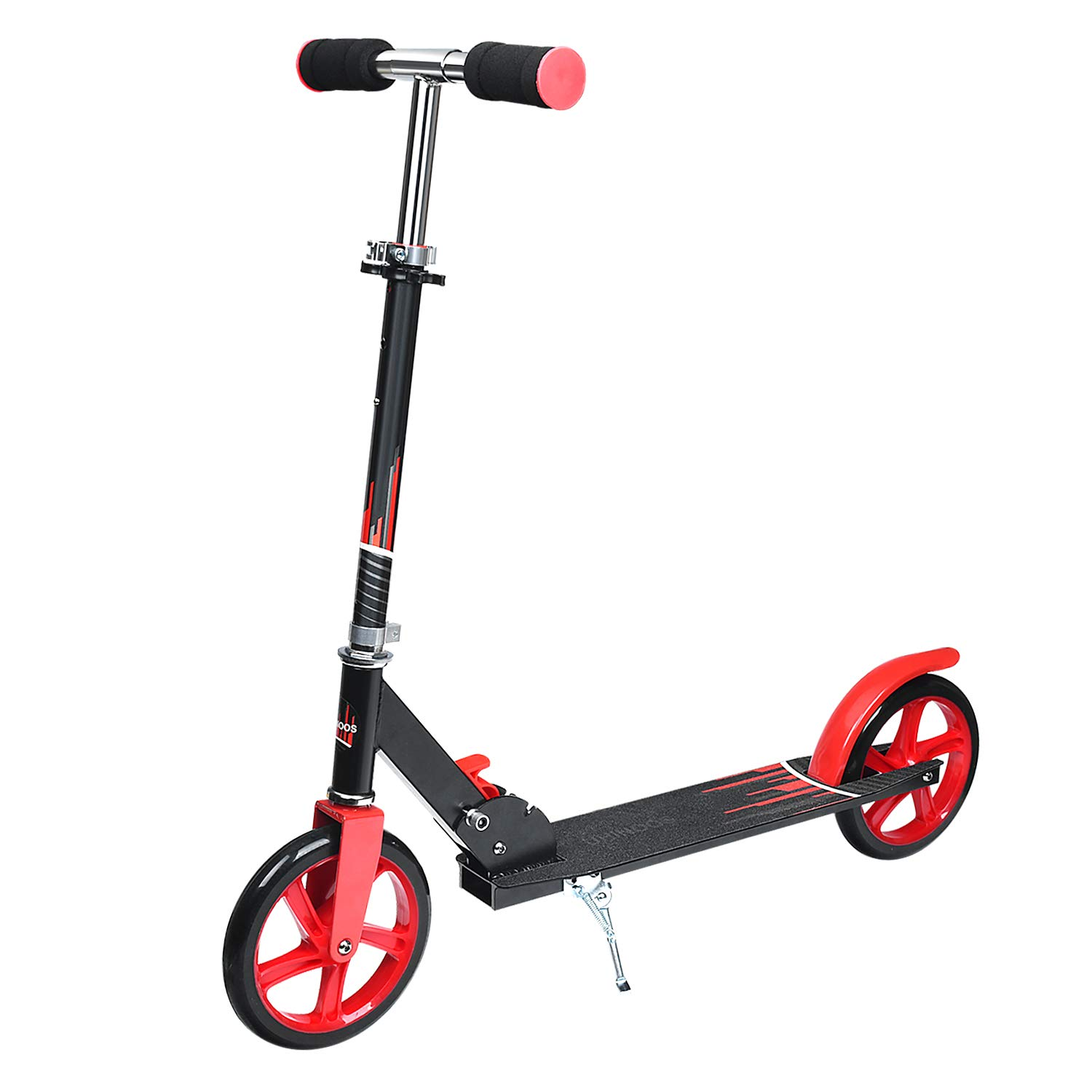 UHINOOS Adults Kick Scooter 200MM with Kickstand-Big Wheels Kids Scooter with Easy Folding System for Teenager (Black and red) by UHINOOS