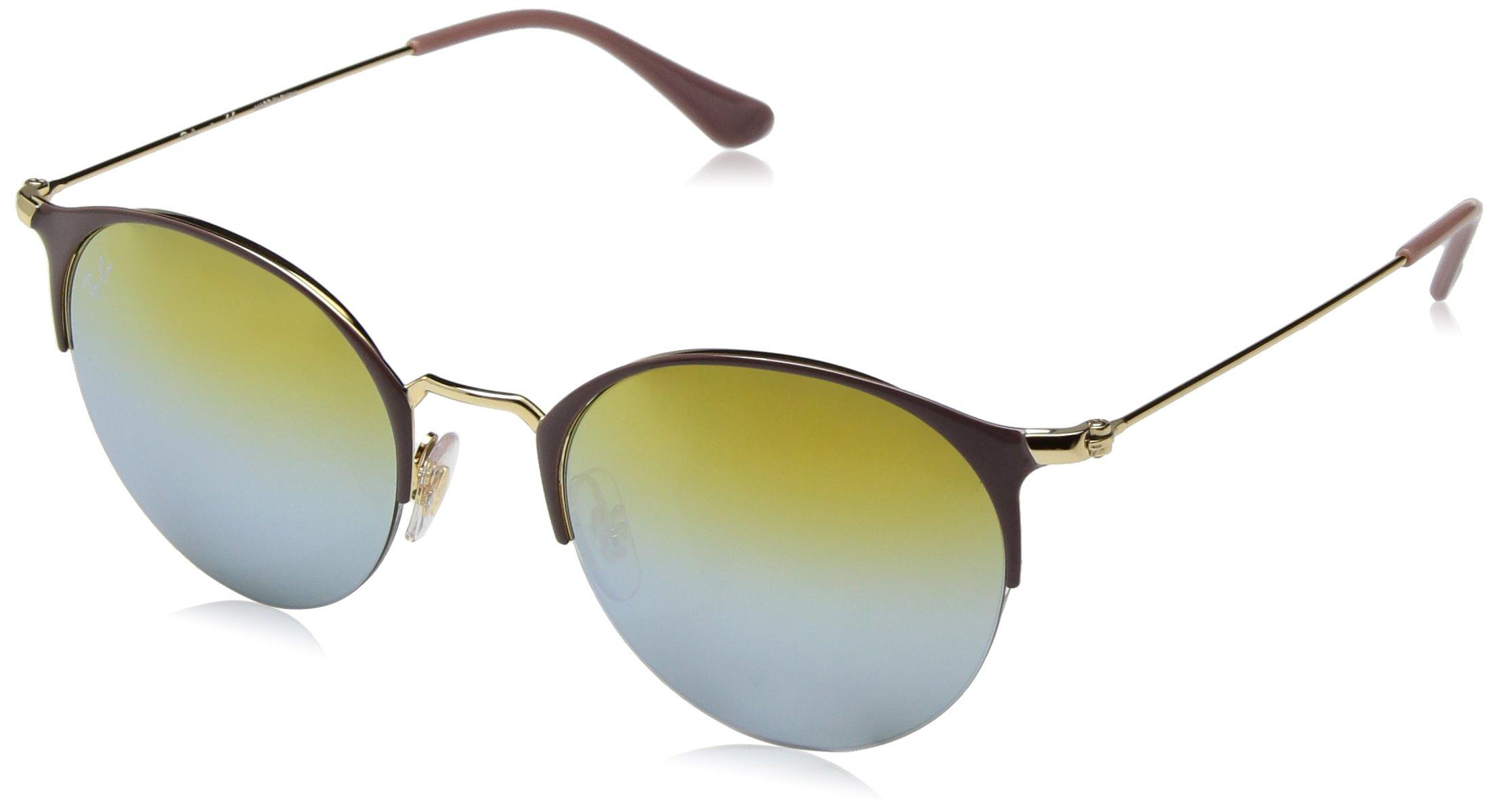 Ray-Ban Metal Unisex Non-Polarized Iridium Round Sunglasses, Gold Top Turtle Dove, 50 mm