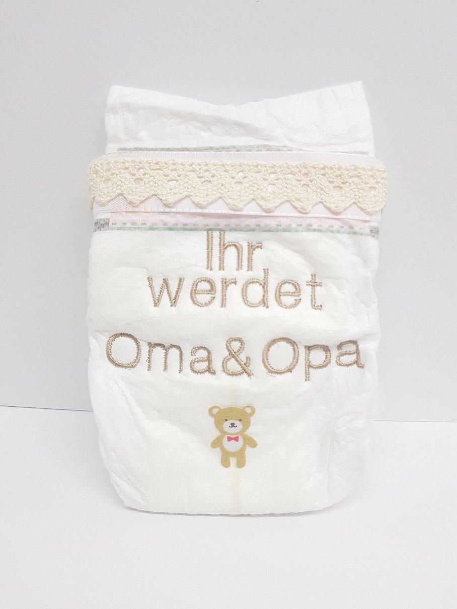 Bestickte Windel Ihr werdet Oma & Opa Baby Babyshower Twamo