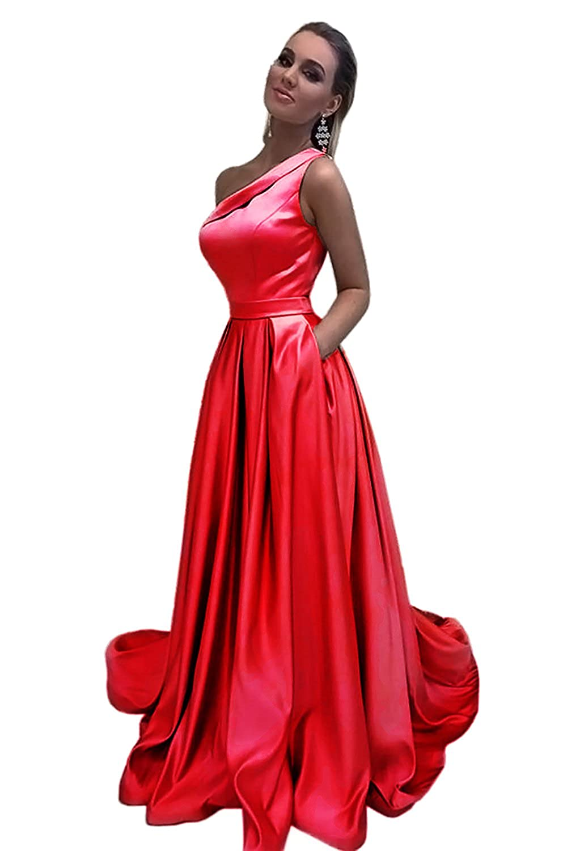 HONGFUYU Prom Dresses One Shoulder A Line Long Formal Evening Dress with Pocket