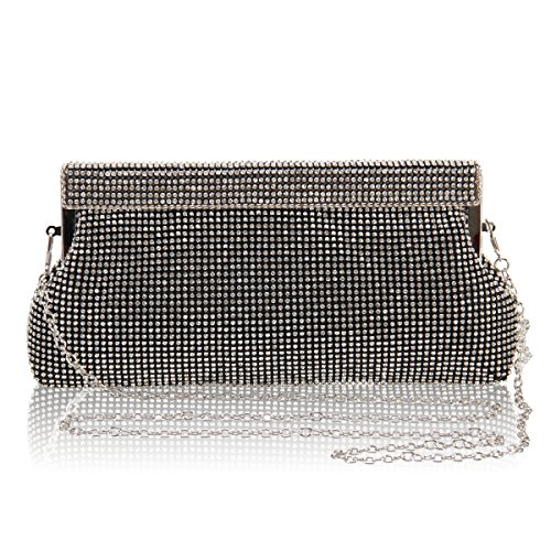 Hynes Victory Full Crystal Rhinestone Evening Handbags (Black)