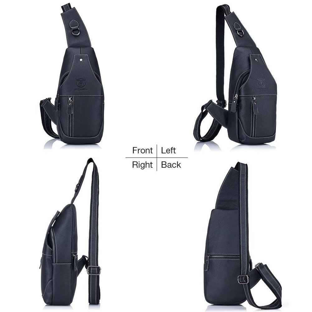 2988a8ce5e41 Amazon.com  Stuo Men s Genuine Leather Shoulder Crossbody Bag Messenger  Daypack for Business Casual Sport Hiking Travel Black  Sports   Outdoors