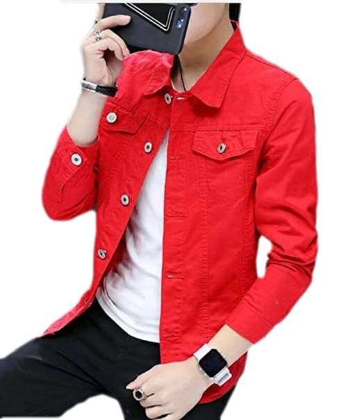 e675b35981 Alion Men s Fashion Single Breasted Slim Fit Long Sleeve Denim Jacket Coat  1 XXS