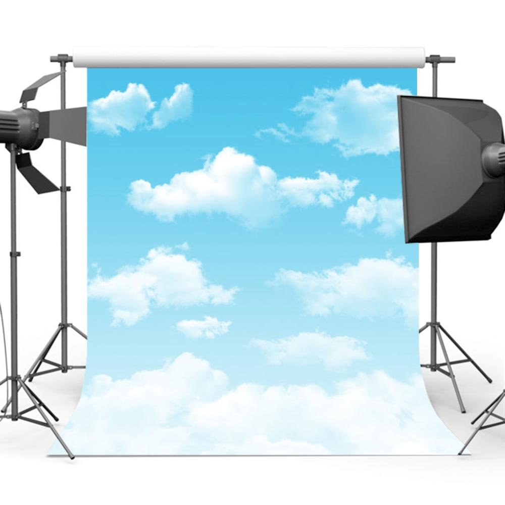 Mehofoto Blue Sky Backdrop Photography White Cloud Photo Background for Children Kids Photo Studio Props 5x7