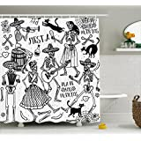 Mexican Decorations Shower Curtain by Ambesonne, Dead Dancers Themed Woman and Man Skeleton Icon Playing Music Design, Fabric Bathroom Decor Set with Hooks, 75 Inches Long, Black White