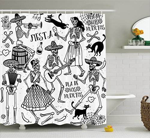 Ambesonne Mexican Decorations Shower Curtain, Dead Dancers Themed Woman and Man Skeleton Icon Playing Music Design, Fabric Bathroom Decor Set with Hooks, 75 inches Long, Black White -