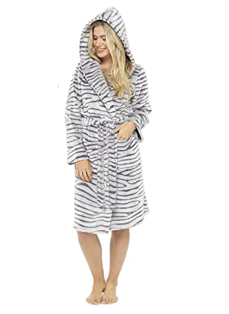 Sell it yourself Ladies Animal Print silver Grey Robe Winter ...