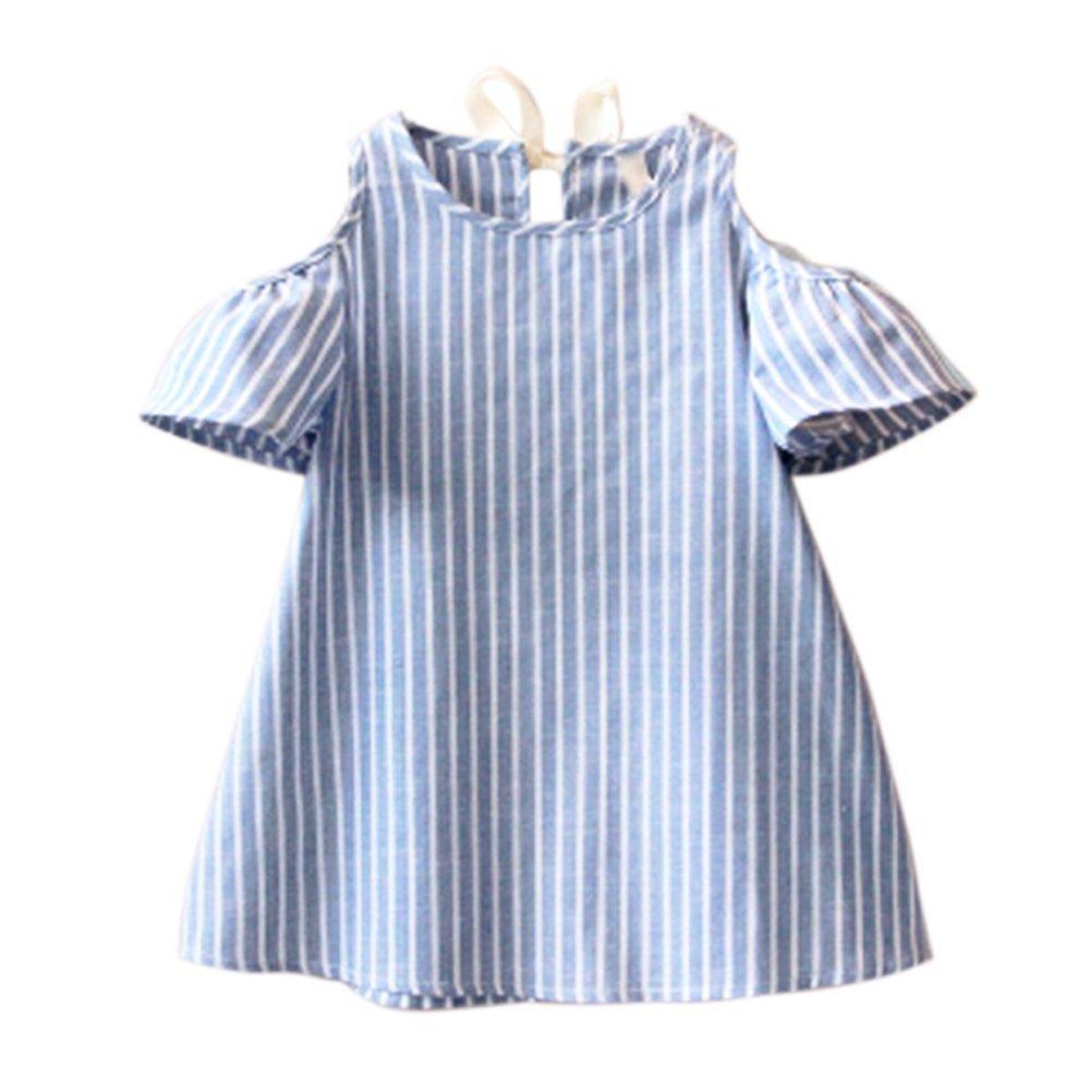 Zhengpin Baby Girls Toddler Kid Striped Off Shoulder Tutu Princess Party Dress Skirt