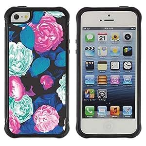 Paccase / Suave TPU GEL Caso Carcasa de Protección Funda para - Pattern Green Begonia Blue Pink - Apple Iphone 5 / 5S