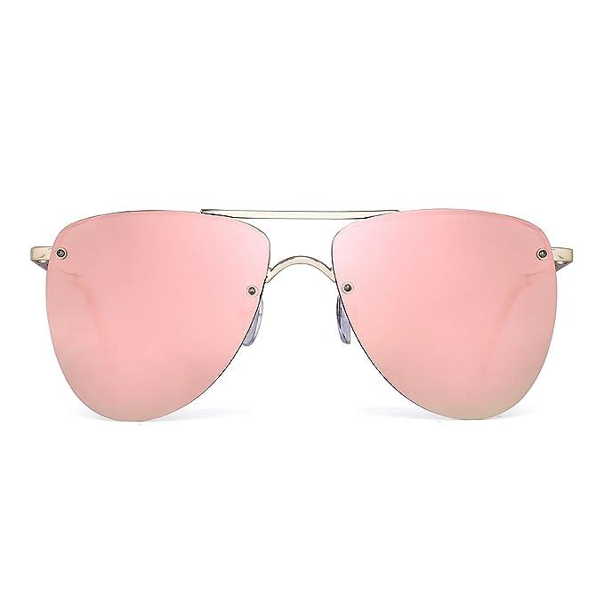 JIM HALO Gafas de Sol Polarizadas Sin Marco Aviador Lentes de Espejo Planos Bisagras de Resorte