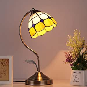 JCCOZ Table Lamp, Dimming Switch Bedroom Bedside Creative Living Room Stained Glass (Color : B)