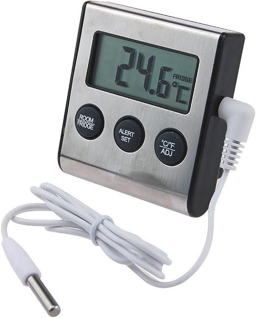 Termómetro digital para frigorífico con alarma de aviso por ...