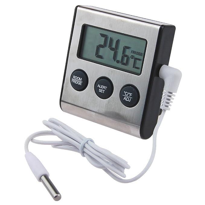 Termómetro digital para frigorífico con alarma de aviso por temperatura alta o baja regulable: Amazon.es: Hogar