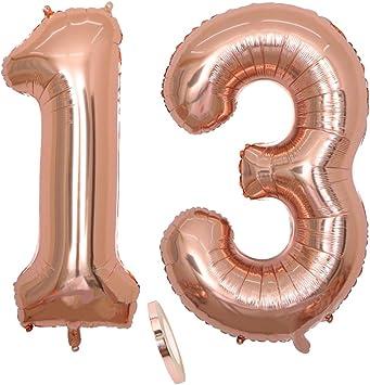 """2 Globos Número 13, Number 13 Globo Chica de oro rosa, 40""""Figuras de globos con globo de lámina de helio inflable, Globo gigante para la decoración de la fiesta de cumpleaños, Prom (xxxl 100cm)"""