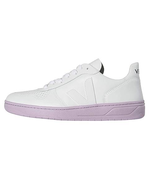 Veja V-10 Leather Extra White Lila Sole - Zapatillas Mujer - Blanco, 39: Amazon.es: Zapatos y complementos