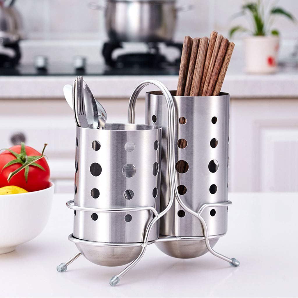 Kitchen Shelf, 304 Stainless Steel Knife Fork Chopsticks Double Tube Drain Rack Tableware Storage Cage by CFXZM (Image #2)