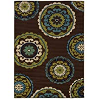 Oriental Weavers Indoor/Outdoor Rectangle Area Rug 37x56 Brown-Green Caspian Collection
