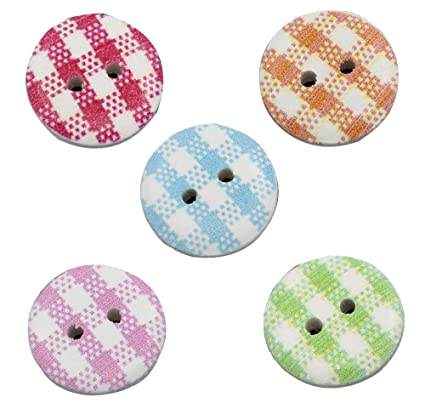 20 Mixed Wooden Round Gingham /& Spotty BUTTONS 15mm Sewing Crafts