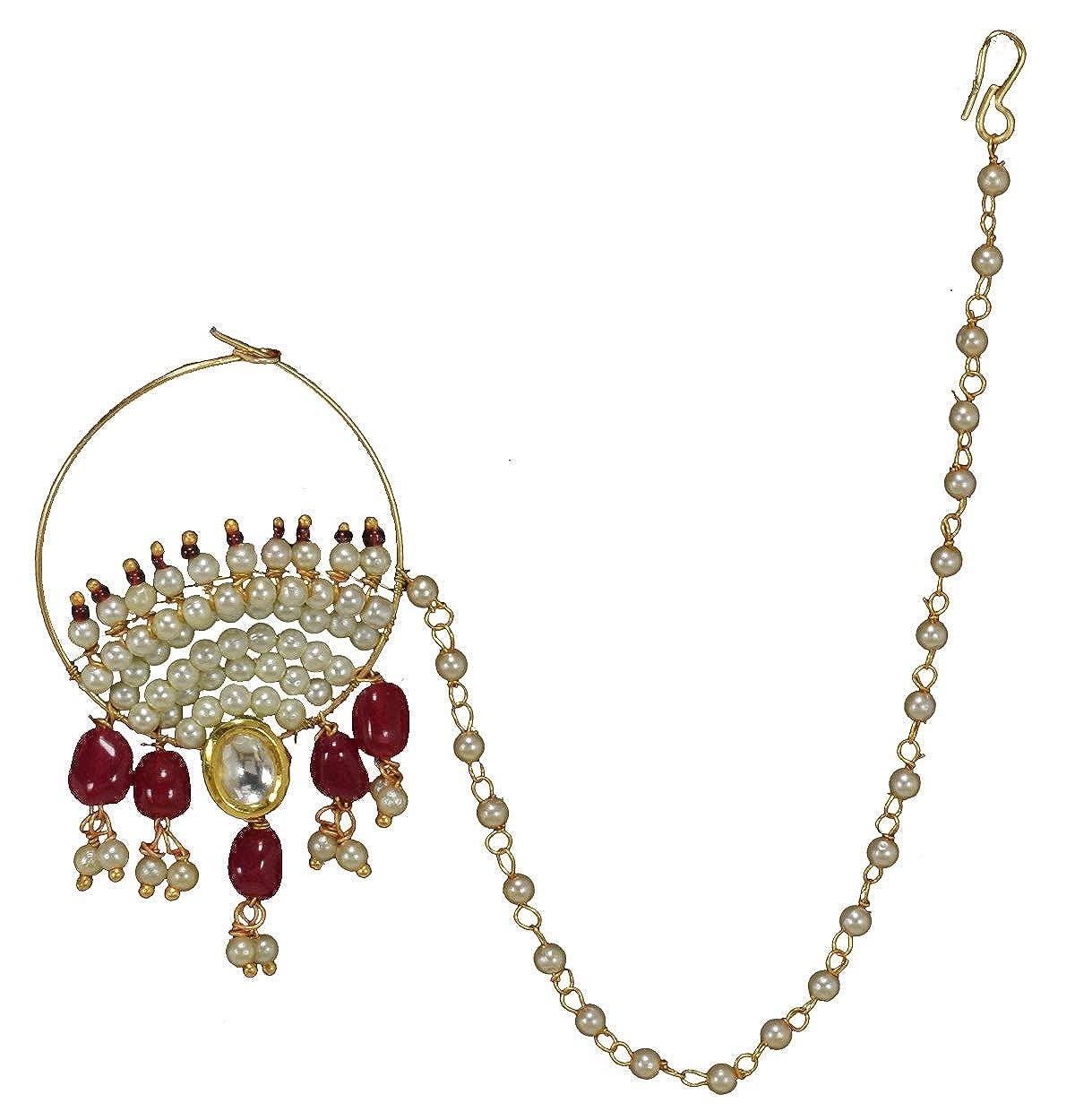 Buy Beendani Ethnic Heavy Golden Royal Rajputana Nath Nose Ring