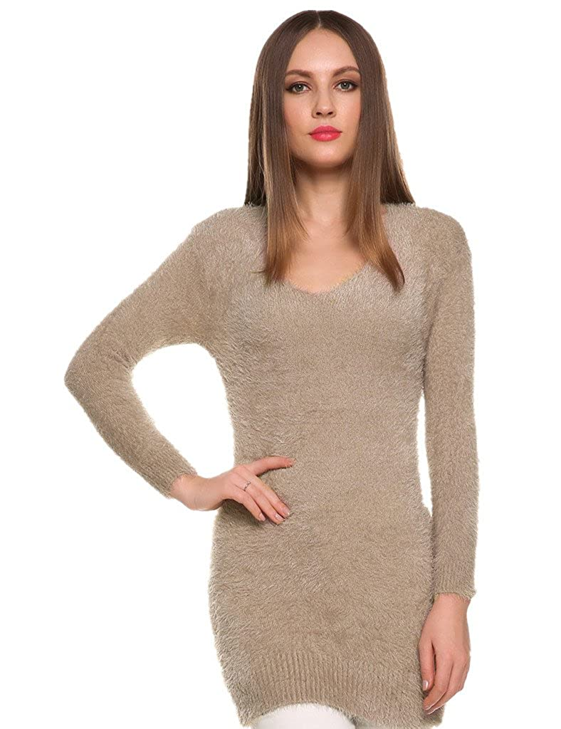VIGVOG Women Casual Fuzzy Mohair Scoop Neck Cute Pullover Sweater