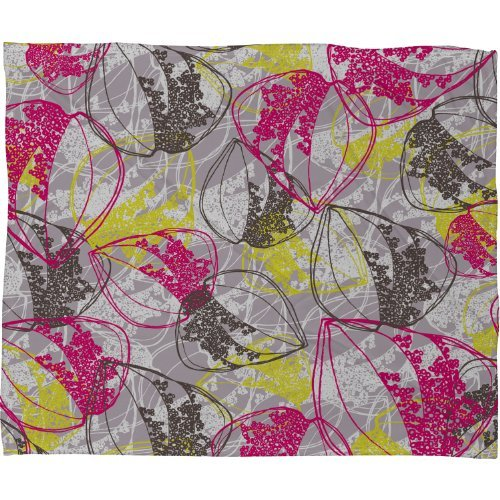 Deny Designs Rachael Taylor Organic Retro Leaves Fleece Throw Blanket, 50 x - Retro Organic Taylor Leaves