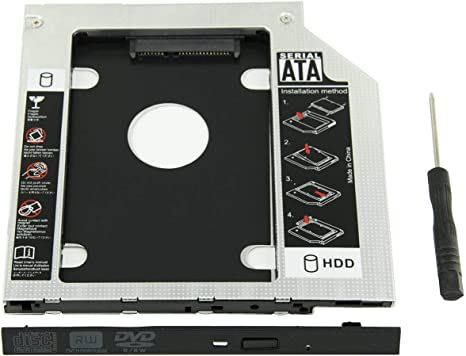 """2.5/"""" Inch SATA Hard Drive Tray Caddy w//Screws For Universal Laptop 9.5mm//12.7mm"""