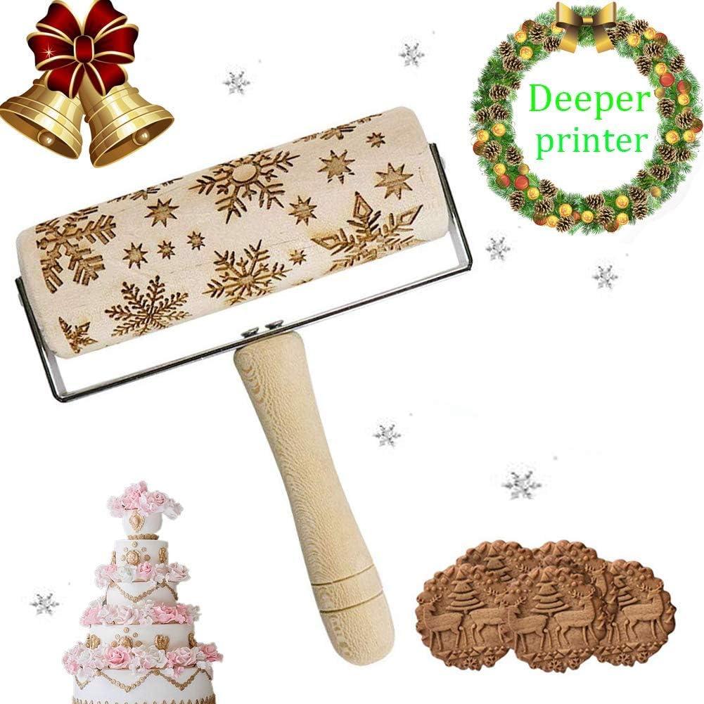 A weihnachten teigroller aus holz,Holz Nudelh/ölzer zum Backen gepr/ägte Kekse,3D Holz Nudelholz,teigroller mit pr/ägung,graviertes nudelholz