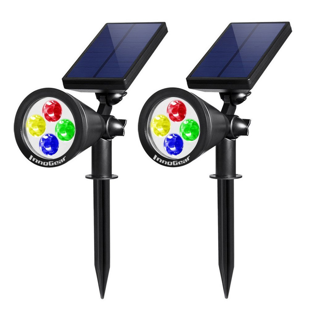 InnoGear Upgraded Solar Lights 2-in-1 Waterproof Outdoor Landscape Lighting Spotlight Wall Light Auto On/Off for Yard Garden Driveway Pathway Pool,Pack of 2 (Colorful Light)