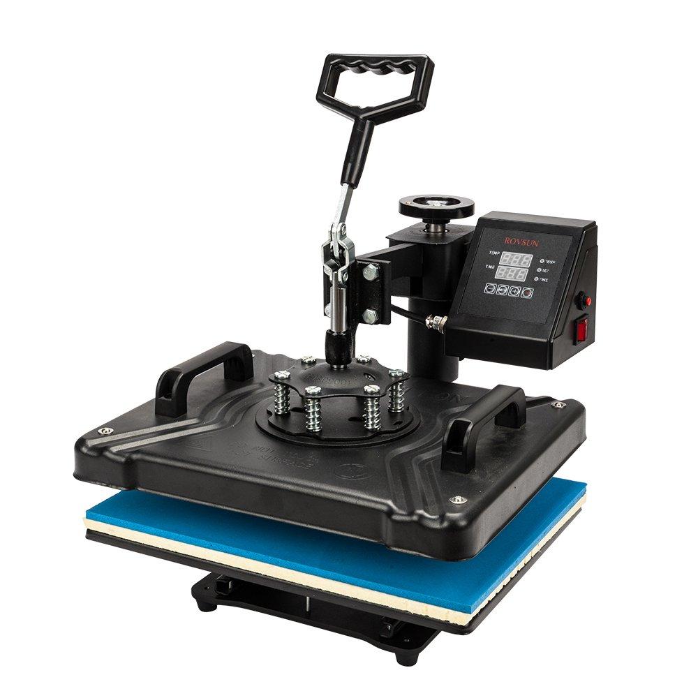 "ROVSUN 8 in 1 Heat Press Machine,Transfer Sublimation Multifunction, 360° Swing Away, Rhinestone/T-Shirt/Hat/Mug/Plate/Cap/Mouse Pads DIY Heat Press, 12"" x 15"" 1250W Black"