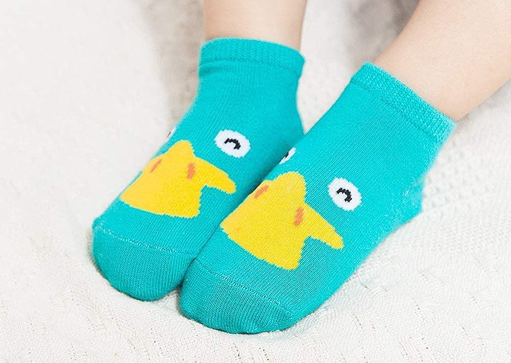 8 Packs Baby Boys Girls Fashion Cotton Crew Seamless Anti Slip Socks Cartoon Animals Patterns Best Gift for Baby