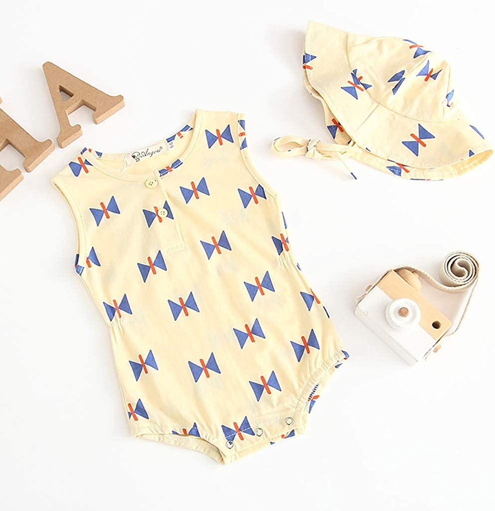 LiLiMeng Newborn Baby Girl Boy Round Neck Button Sleeveless Printed Romper+Hat Bodysuit Outfits Set Clothes