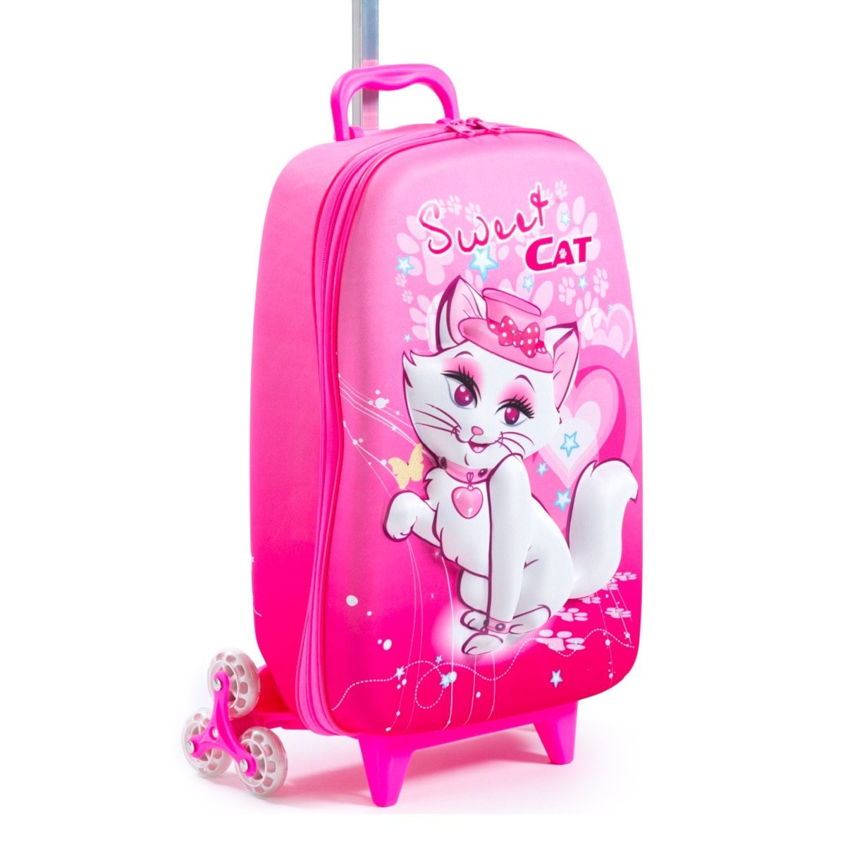 Girls Pink 3D Cute Face Sweet Cat Theme Wheeled Upright Rolling Suitcase, Beautiful Cat Lovers, Pet Animal, Cat Paw Print Carry on, Travel Wheeled Suit Bag with Wheels, Wheeling Luggage, Fashionable