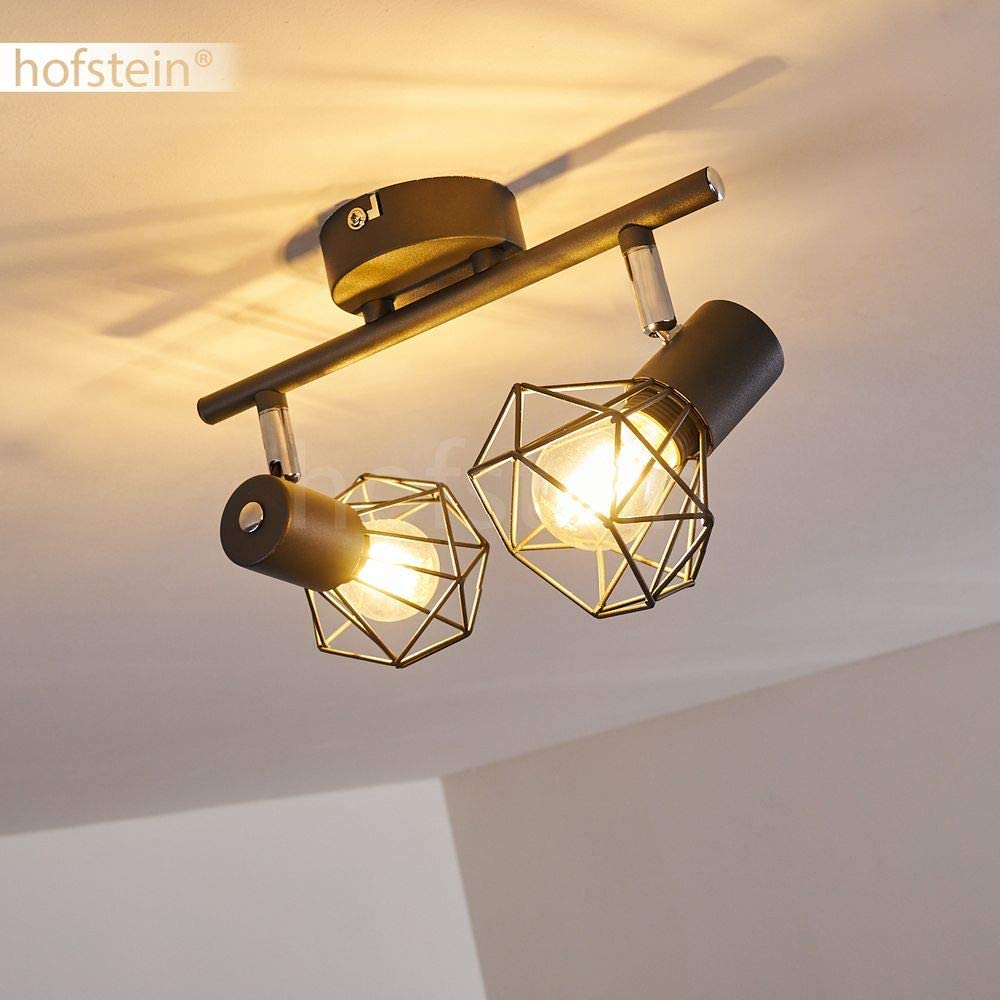 Suitable LED Bulbs Ceiling Light Gullspang in Anthracite Metal 40 Watt Light Bulbs 2 swivelling Spots projecting a Light Effect on The Ceiling Ideal in a Hallway or Living Room for 2 x E14 max