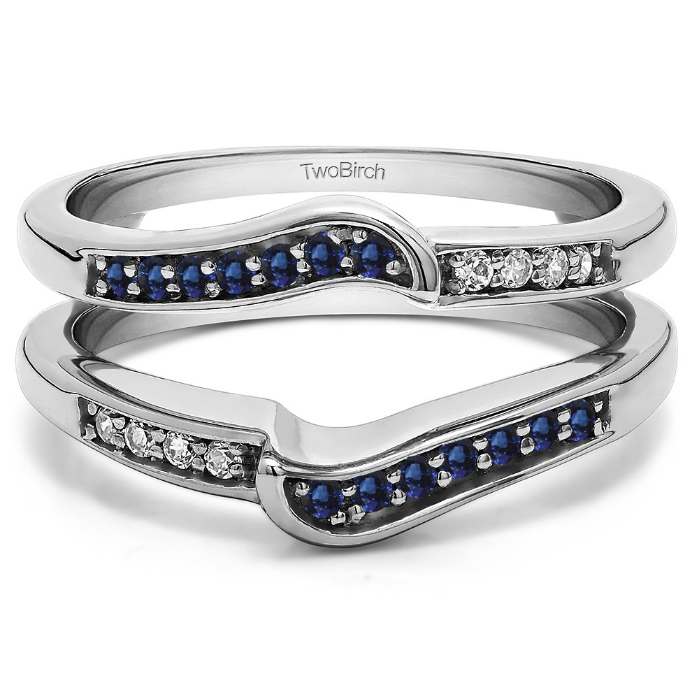 Knott Style Chevron Ring Guard with 0.45 cts of Diamonds and Sapphire in Silver