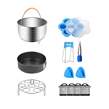 Fopurs Pressure Cooker Accessories Set, Compatible with Instant Pot 5,6,8 QT, Steamer Basket, Egg Bites Mold, Springform Pan, Egg Rack, 4 Cooking time Magnets, Dish Clip, Silicone Mitts and More