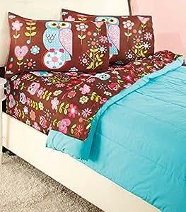 girls owl twin sheet sets home kitchen. Black Bedroom Furniture Sets. Home Design Ideas