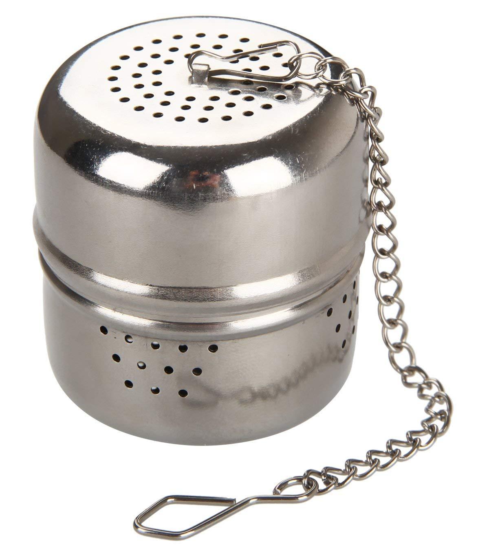FACKELMANN Tee-Ei mit Kette INOX, Edelstahl, Silber, Ø 3,7 cm, Höhe ca. 4 cm 49116