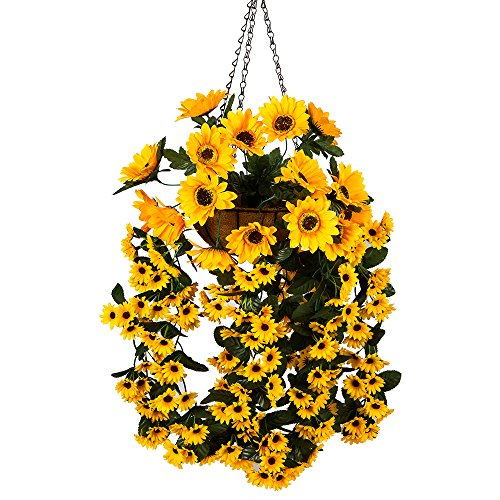 Mixiflor Hanging Flowers Basket, Artificial Hanging Sunflowers for Home Balcony Living Room Wedding Decoration Sunflower Artificial Hanging Basket with Chain Flowerpot