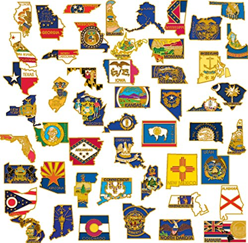 (PinMart 50 State Shape Enamel Lapel Pin USA Collection Value Pack)