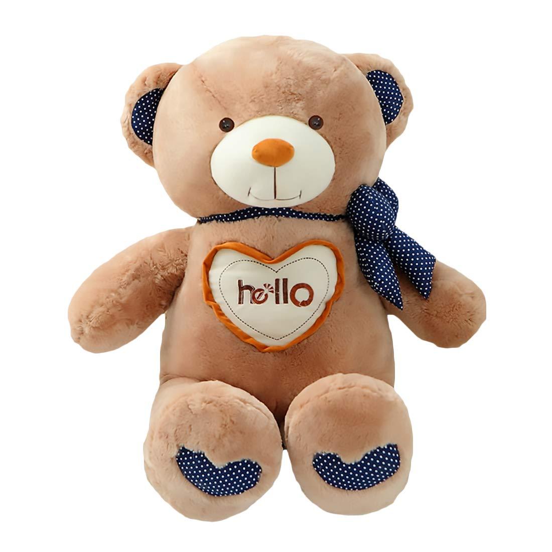 Zhyaj Teddybär,Hello Bear Plüsch Handgefertigt Netter Entwurf Kein Geruch Es Ist eine PlüSchpuppe Super Weißher PlüSch Und PP-Baumwollpolsterung 70150CM Ist Eine Perfekte Wahl braun L