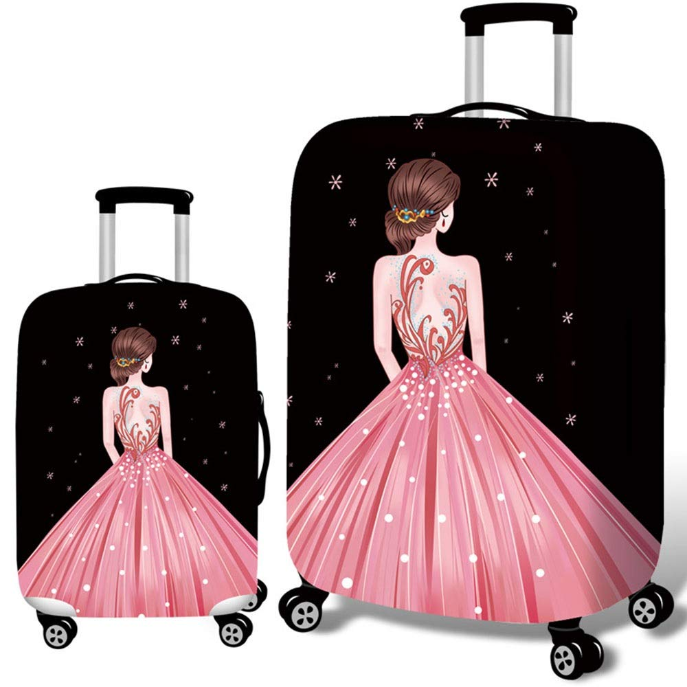 JIANGXIUQIN-Bag Luggage Cover Strong and Durable Washable Travel Luggage Cover Spandex Suitcase Protector for 18-32 Luggage Luggage Protector 18-21 Color : Pink, Size : S