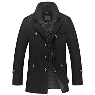 Micca Bacain Trench Coat Men Winter Thick Windbreaker Long Woolen Overcoat Casaco Jaket Trench Wool Jackets