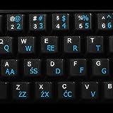 Polnische Programmierer transparente Tastaturaufkleber mit Blauen Buchstaben - Geeignet für jede Tastatur