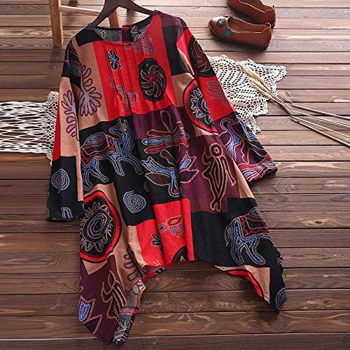 Vrac Blouse t Sweatshirts Taille Lin Sexy Longue T et Top 1 Mode en Coton Automne Dcontracte Femmes Vetements Impression Chic Grande Haut Manches Shirt Chemise Rouge et OVERMAL 4wPXRTSqP