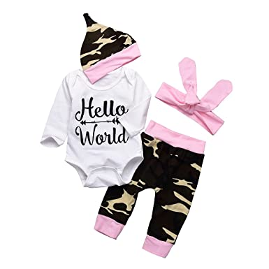 1fa15a7be 4Pcs Infant Baby Boys Girls Hello World Romper Tops+ Camouflage Pants+ Hats  + Headband Outfits Set