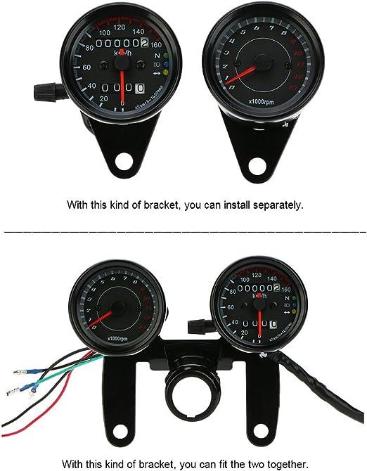 Kkmoon Tachometer 13 000 Upm Und Dual Geschwindigkeitsmesser Km H Mit Led Signalanzeige Für 12 V Universalmotorräder Auto