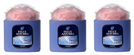 Felce Azzura Talco Classico Made in Italy Scented Talcum Powder 3 PACK-WITH POWDER PUFF.