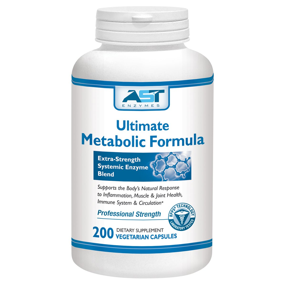 Ultimate Metabolic Formula – 200 Vegetarian Capsules – Premium Natural Systemic Enzymes Formula – Total Joint Support – Contains Enteric-Coated Serrapeptase – AST Enzymes